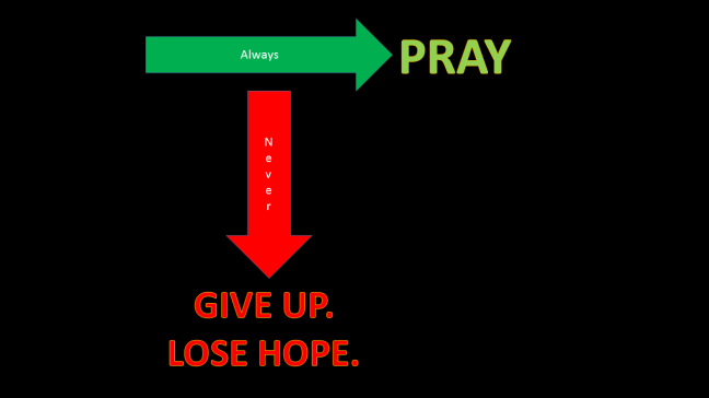 Always Pray! Never give up! Never lose hope!