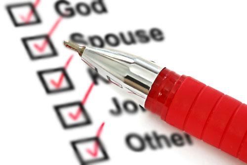 God, Spouse, Kids, Job, Other