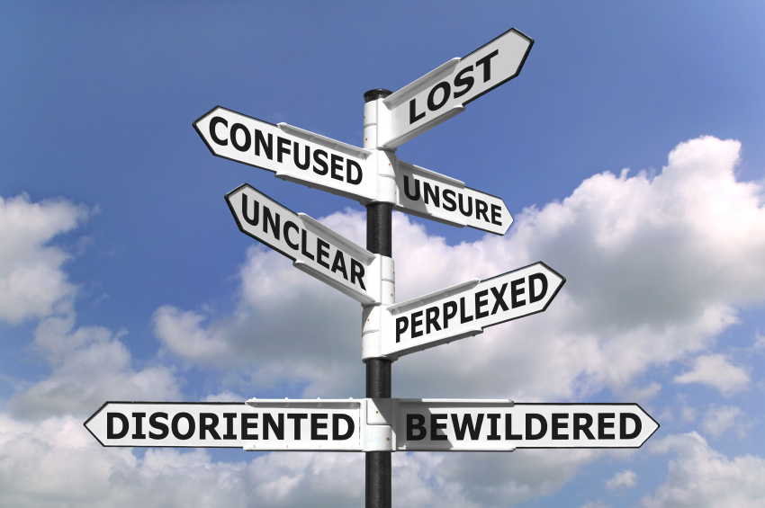 Lost confused unsure unclear perplexed disoriented bewildered