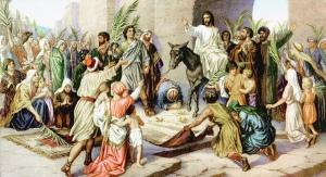 Jesus riding into Jerusalem. Triumphant Entry