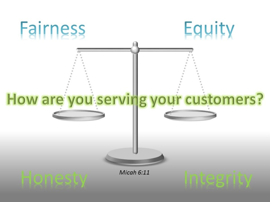 Have honest scales and honest weights - Fairness - Equity - Honesty - Integrity