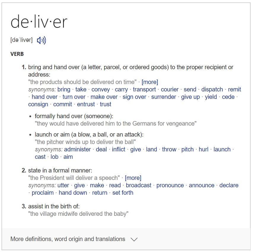 Definition of Deliver