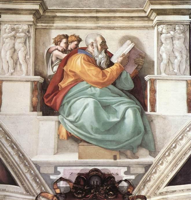 Jan 20 - Zechariah 7 - ARTS - fresco painted by Michaelangelo of Zechariah in the Sistine Chapel