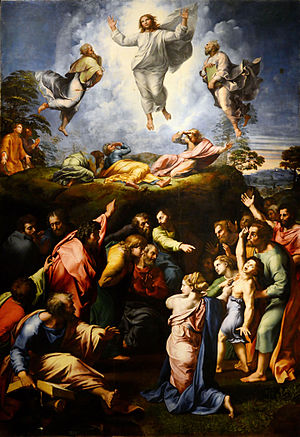Jan 22 - Luke 9 - Transfiguration by Raphael - showing Jesus with the prophets Moses and Elijah and the apostles