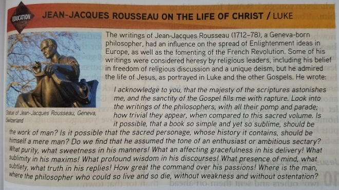 Feb 22- Jean-Jacques Rouseau on the life of Jesus Christ - Luke 9