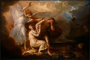 Apr 1 - Genesis 3_23 - Bibles Impact on Acts of Mercy - The expulsion of Adam and Eve from Paradise - Benjamin West
