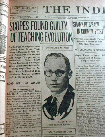 July 23 - Jonah 4 - Scopes Monkey Trial - Found guilding of teaching evolution - Impact of the Bible on Science
