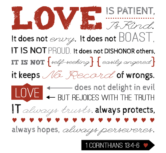 Definition of love from 1 Corinthians 13:4-7
