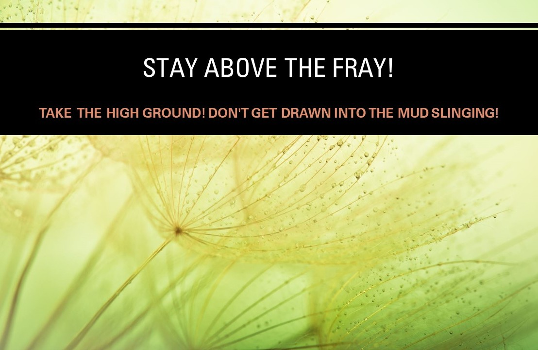Stay above the fray! Take the high ground! Don't get drawn into the mudslinging!