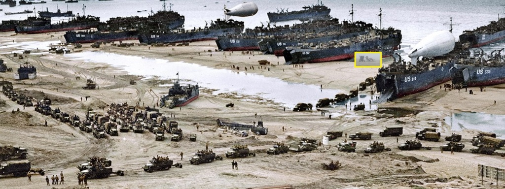 Visualization of someone sitting at the beach in the middle of a war...