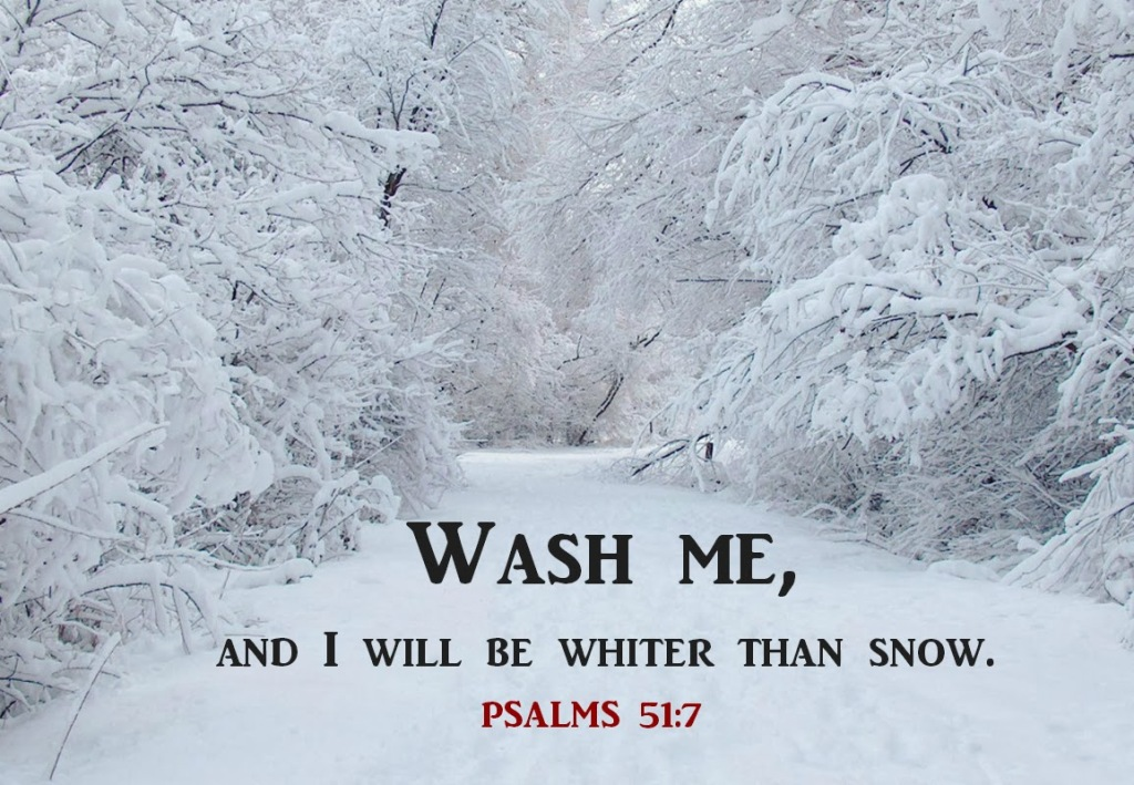 Wash me, and I will be whiter than snow. -- Psalms 51:7